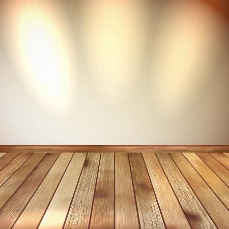 Beige wall with spot lights wooden floor  EPS 10 Stock Vector - 20274965