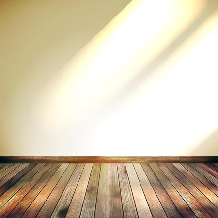 Beige Blauwe muur met lampjes houten vloer EPS-10 Stock Illustratie