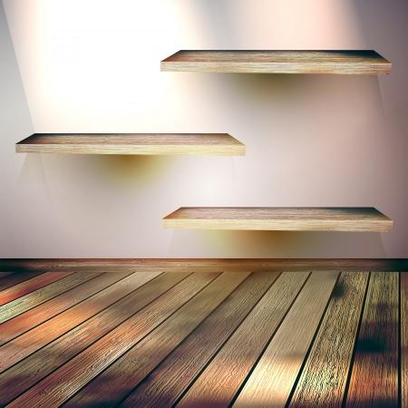 Beige Blue wall with lights wooden floor  EPS 10