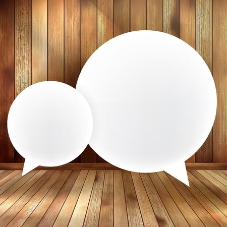Speech bubble on wooden