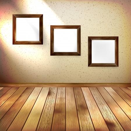 Retro room with three frames