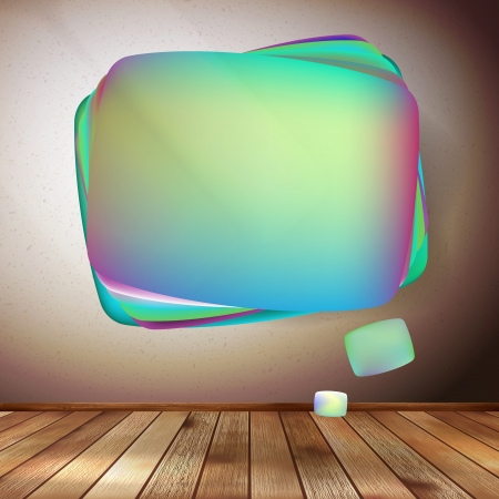 Glass bubble speech on wooden background Vector