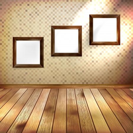 Retro kamer met drie frames voor foto's op de muur