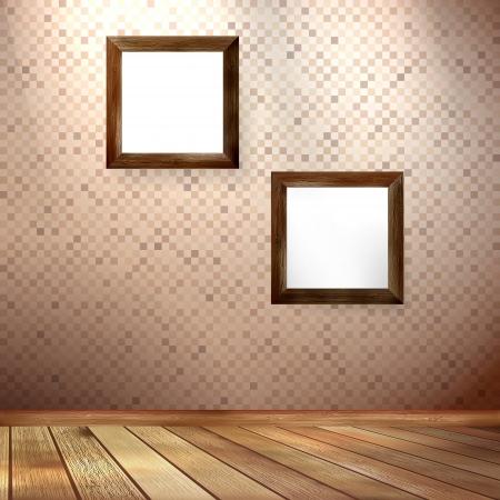 Vintage frame on a wooden texture Illustration