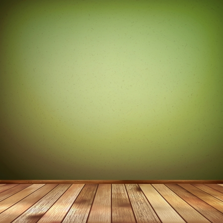 Empty interior with a green wall