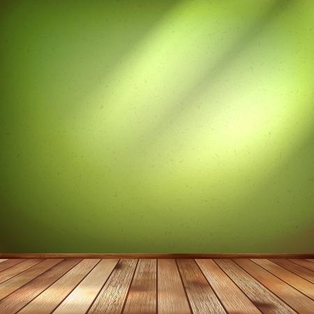 Lege interieur met een groene muur