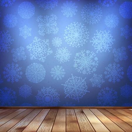 night club interior: Winter interior walls decorated snowflakes Illustration