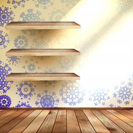 Snowflakes in blue room with a shelfs Illustration