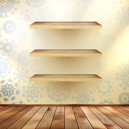 Christmas composition with a shelfs with wood floor Illustration