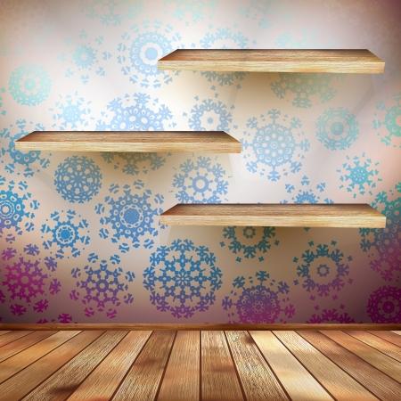 shelfs: Room wall with a shelfs snowflakes Illustration