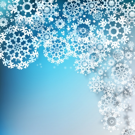 Decorative corner design of overlapping snowflakes Vector