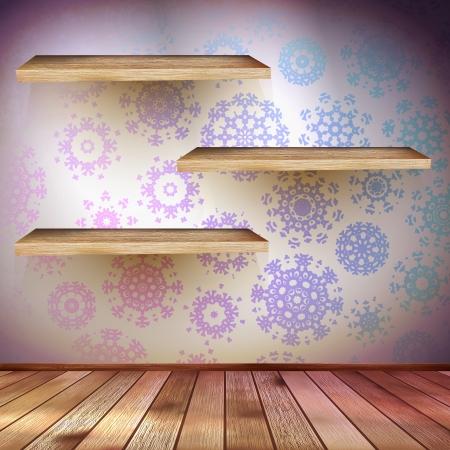 shelfs: Christmas Decor with a shelfs blue bright. abstract background