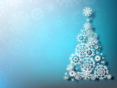 Paper christmas tree on blue background Vector