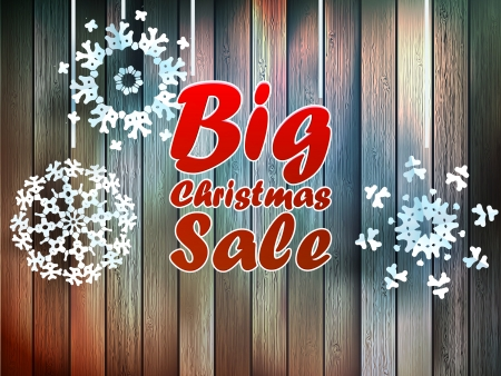 Christmas snowflakes with big sale over wooden background Vector