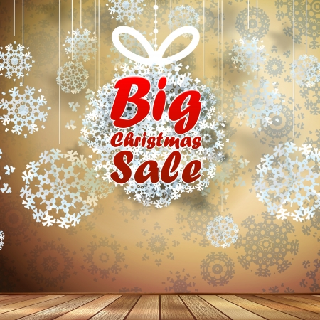 Big Sale interior walls decorated snowflakes.  Stock Vector - 21205951