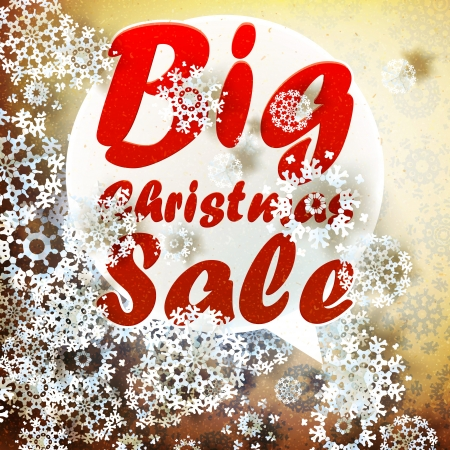 Christmas retro Big Sale template with copy space.  Vector
