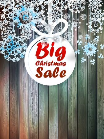 Christmas snowflakes with big sale over wooden background.  Vector