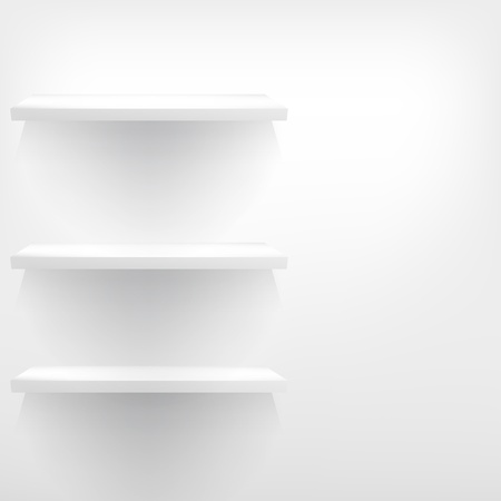 empty shelf: 3d isolated Empty shelf for exhibit. EPS 10 Illustration