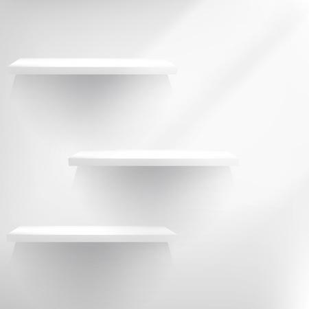 Drie Witte lege schappen. EPS 10 Stock Illustratie