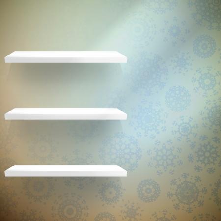 shelfs: Room wall with a shelfs snowflakes. EPS 10 vector