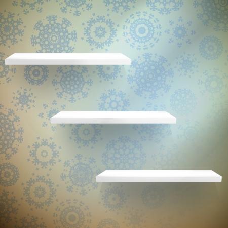 shelfs: Christmas composition with a shelfs with wood floor. EPS 10 vector