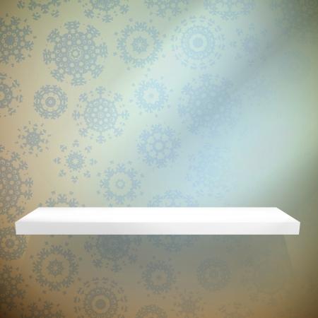 shelfs: Frozen interior, with a shelfs background. EPS 10 vector Illustration