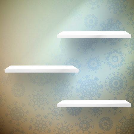 shelfs: Snowflakes in blue room with a shelfs. EPS 10 vector