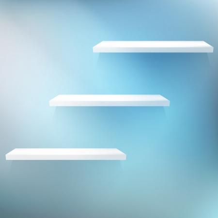 Three empty shelves. EPS 10 Vector