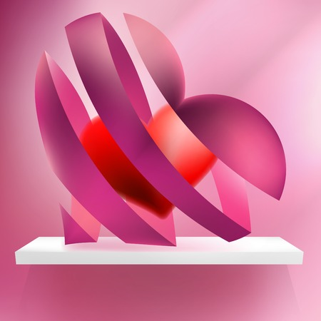 ribbon red: Ribbon red hearts with light. + EPS10 vector file