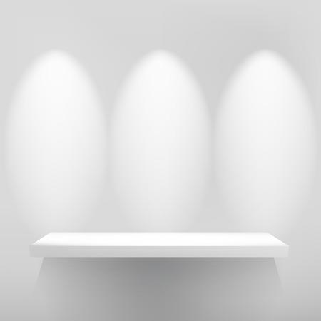 luz focal: 3d aislados vacian el estante para el objeto expuesto con luz focal. + Archivo EPS10 vector Vectores
