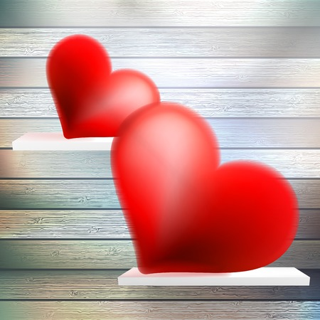 Romantic background with hearts on wood shelf. EPS 10 Vector