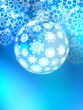 viewfinderchallenge1: Christmas ball on abstract light background with snowflakes. + EPS10 vector file Illustration