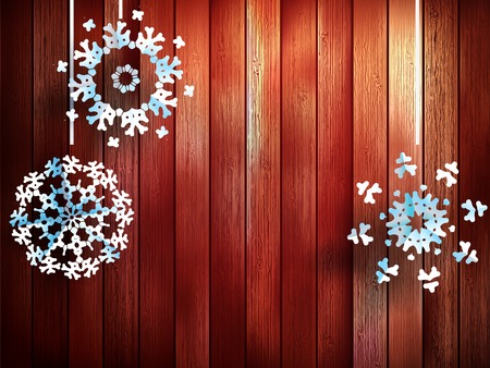 Christmas decorations, snowflakes hanging over wooden background. EPS 10 vector