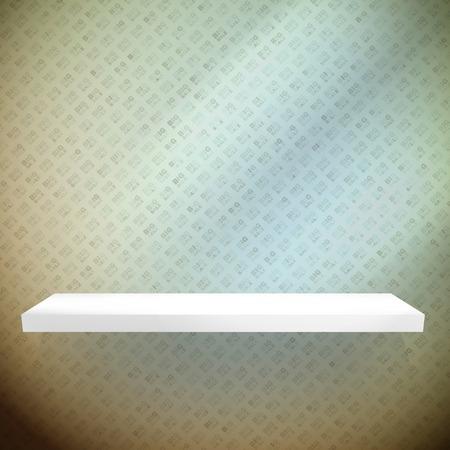 Empty white shelves on light blue background. EPS 10