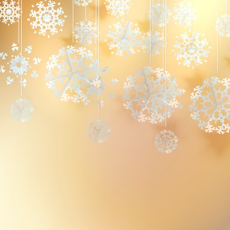 Decorative christmas background with gold lights and snowflakes. EPS 10 Illustration