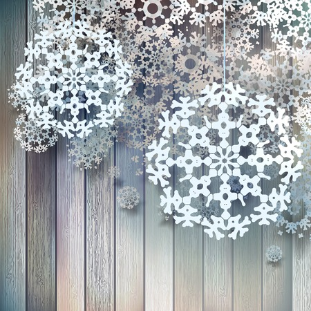 decode: Christmas decorations, snowflakes hanging over wooden background. EPS 10 vector
