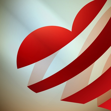 ribbon red: Ribbon red heart with light. EPS 10