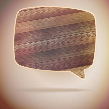 Blank Speech Bubble on wood background   Vector