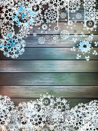 Christmas snowflakes on wood  plus
