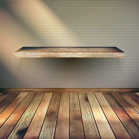 empty shelf: Wooden empty Shelf background   Illustration