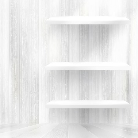 Layers Blank white wooden bookshelf     Vector