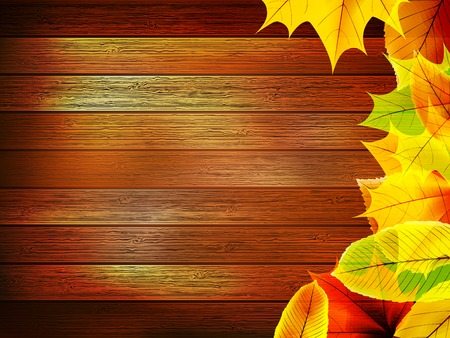Autumn leaves over old wooden  plus  Illustration