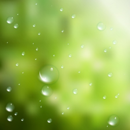 Water drops on green background  plus