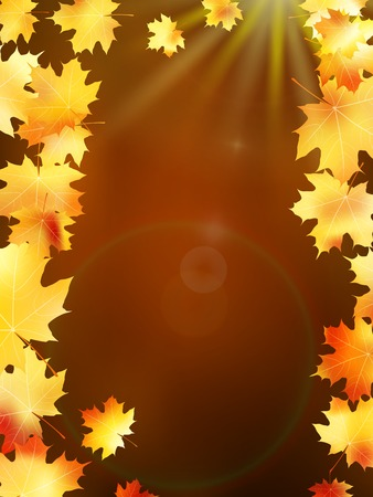 copy spase: Autumn leaves on colorful  plus Illustration