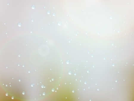 glare: Drops of rain on the window with sunn glare. Shallow DOF.  Illustration