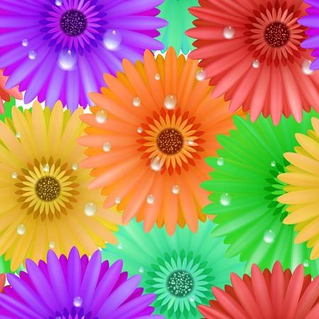 Seamless flower gerbera patter  Illustration