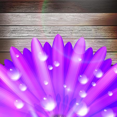 flourishing: Flower with dew on wood  plus EPS10 Illustration