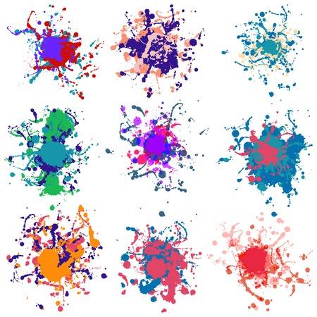 Kleurrijke verf spatten op witte plus EPS10 Stock Illustratie