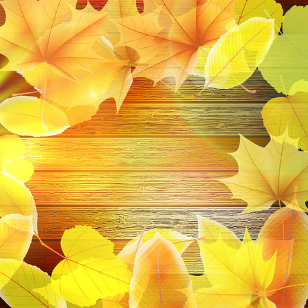Autumn Leaves over wooden background  Illustration