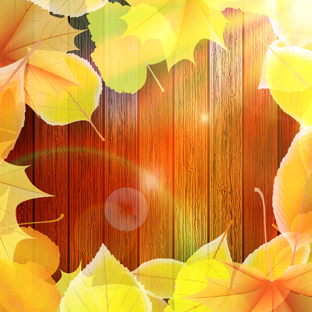 Autumn Leaves over wooden  Illustration